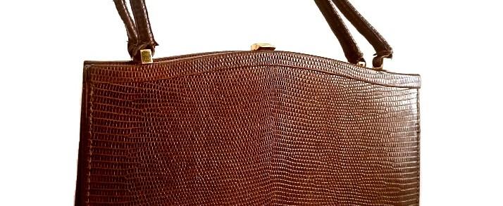 bolso vintage de piel de lagarto
