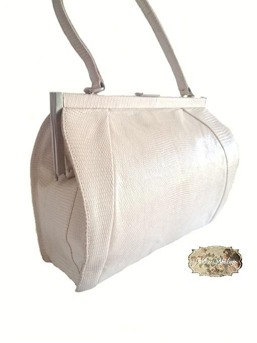 Bolso vintage de lagarto color blanco
