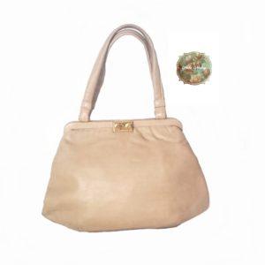 bolso de boquilla, bolso antiguo, de piel, color crema