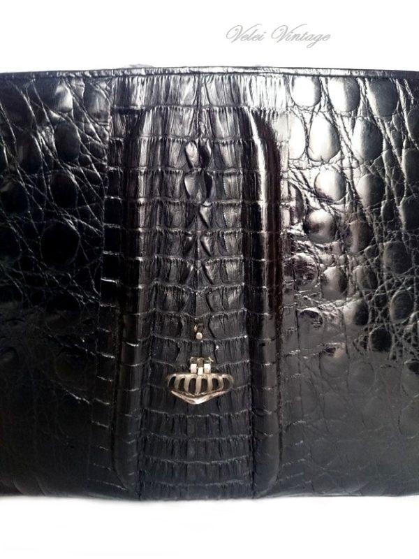 bolso de cocodrilo vintage genuino