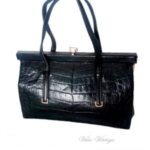 bolso vintage de piel marcada cocodrilo