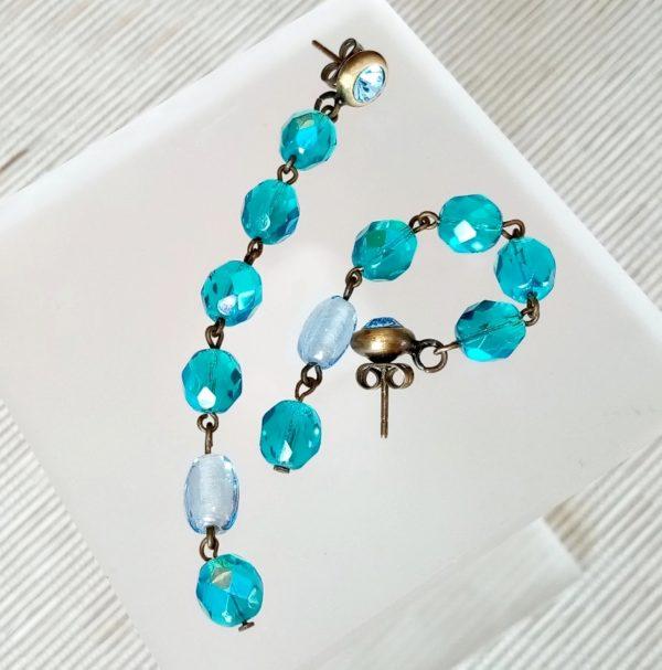 pendientes-de-bisuteria-con piedras-fiesta-vintage-azul